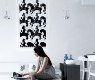 Black White Painting White Wall Glass hanging Lamp White Sofa White carpet