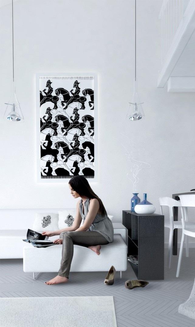 Black White Painting White Wall Glass hanging Lamp White Sofa White carpet