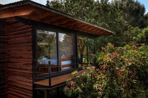 Black Window Panes Minimalist Rails Wooden Floor Wide Window