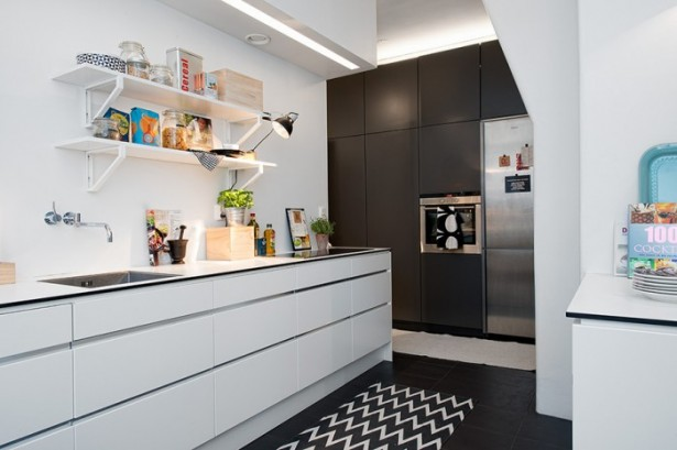Black Wooden Cabinets White COunter White Island White Shelves