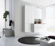 Black carpet glass door all white Modern Bathrooms Design