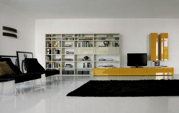 Black fur rug Shiny marble floor Yellow TV setup Black padded chairs