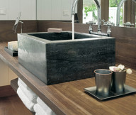 Black sink Exotic Getaway Resort wooden table steel faucet Caribbean Sea
