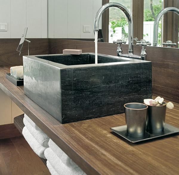 Black sink Exotic Getaway Resort wooden table steel faucet Caribbean Sea
