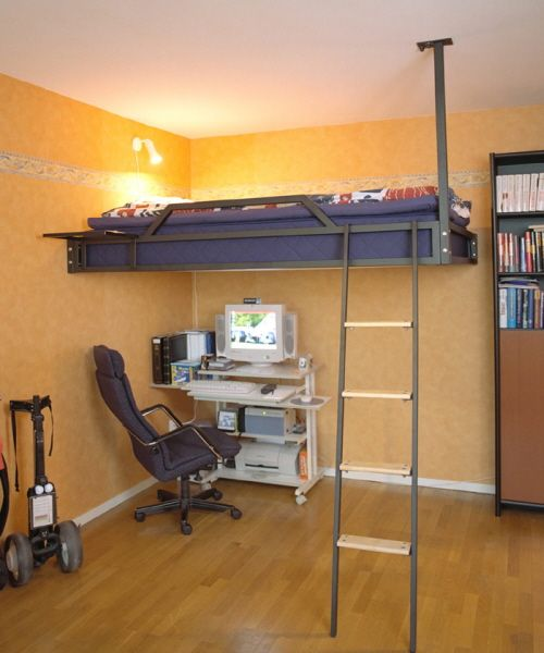 Black steel stairs Murphy Beds Design-Smaller-Living-Spaces