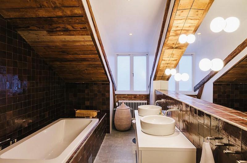 Black tile wall Porcelain bath tub Shiny bulb lights Stunning apartment