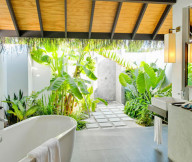 Block paved path Fresh greenery White porcelain bath tub Gloomy wall light