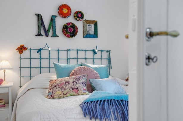 Blue Bed Frame White Bed Cover White Wall White Door