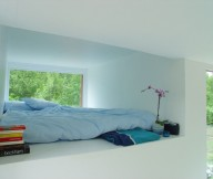 Blue Bed Wide Window White Wall Modern Design