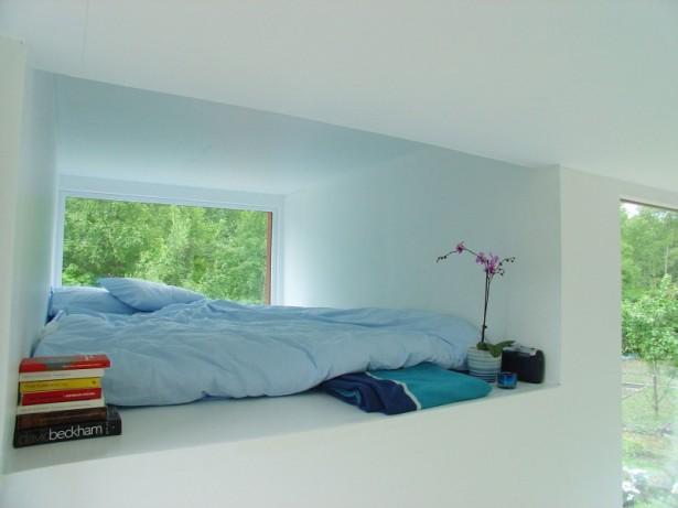 Blue Bed Wide Window White Wall Modern Design