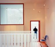 Blue Chair White Wall Wooden Window Pane White Rails