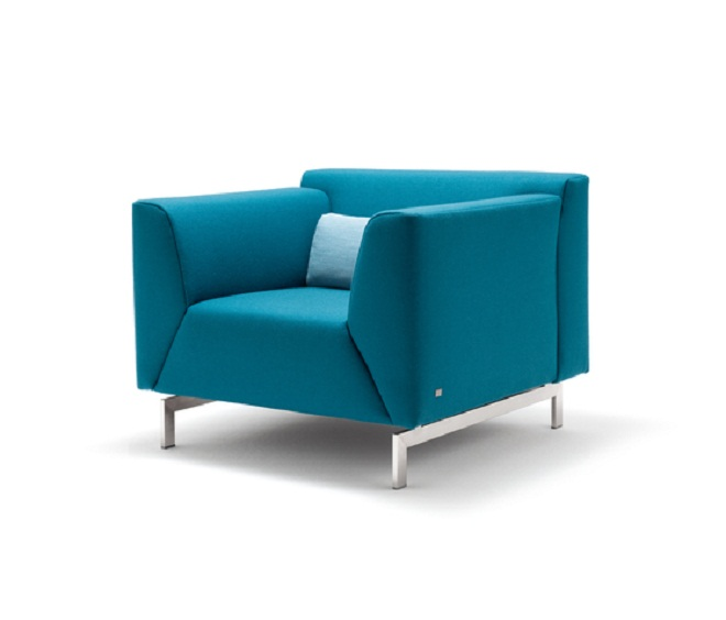 blue color single armchair metal legs light blue cushion. Black Bedroom Furniture Sets. Home Design Ideas