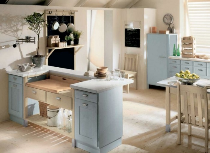 Blue Counters Cream Floor White Wall Indoor Plant