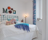 Blue Curtain White Bed Cover White Floor White Wall