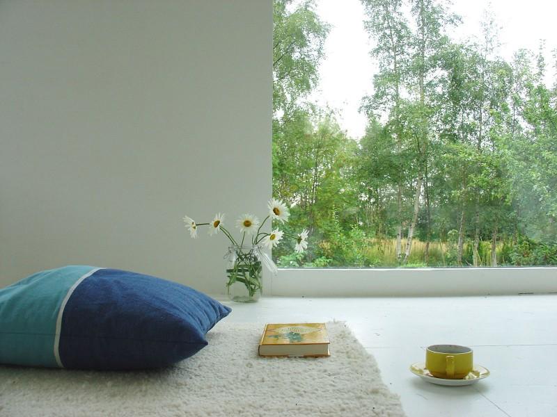 Blue Cushion Wide WIndow White Rug White Wall