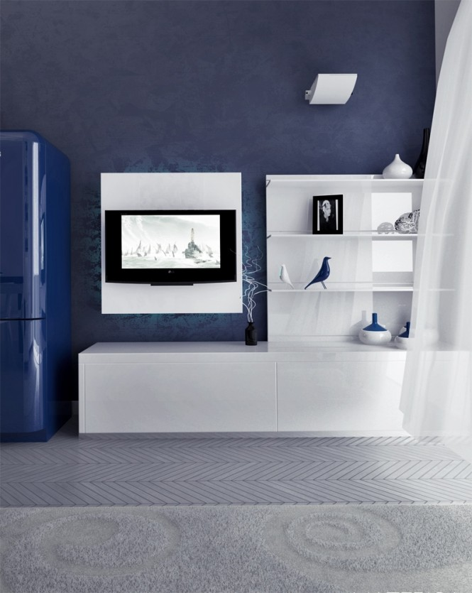 Blue Fridge Purple Wall Panel White Wall Shelves White Cabinets