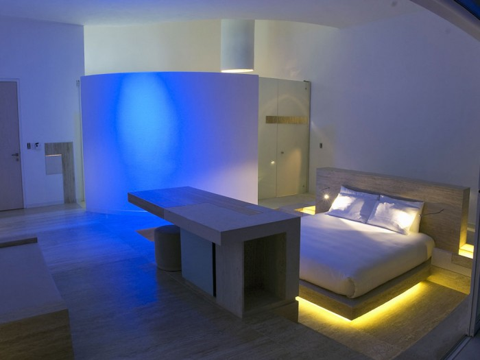 Blue Lighting Yellow Lighting Brown Wooden Bed Frame White Bed
