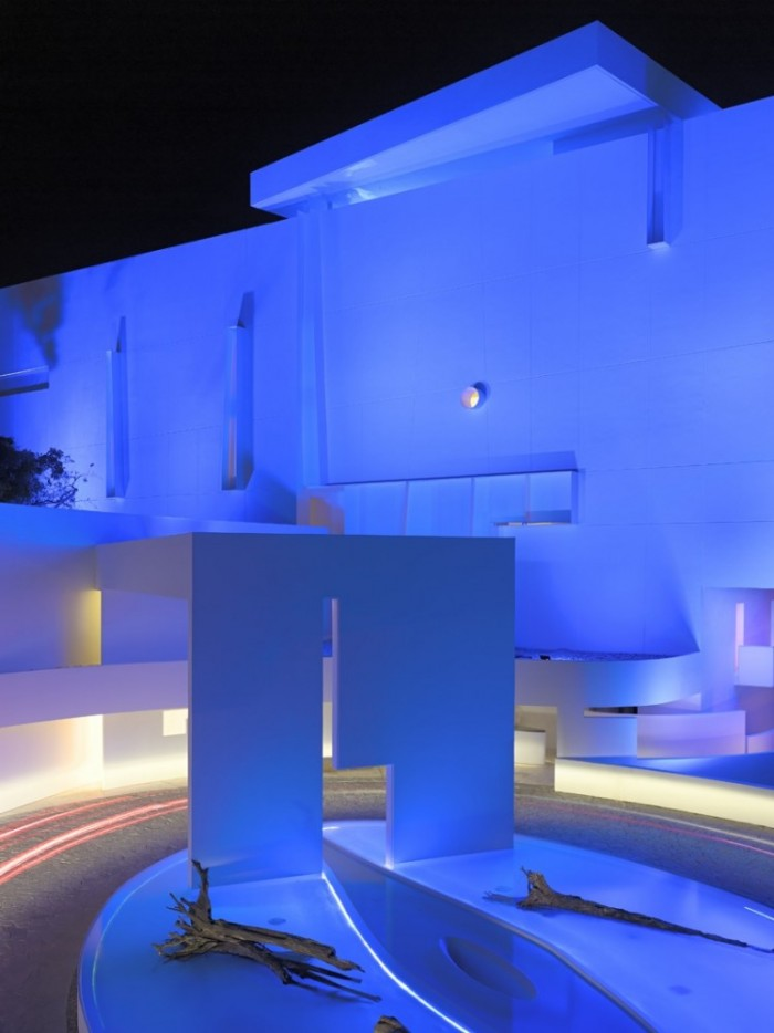 Blue Lights White Wall Cemented Way Yellow Lights