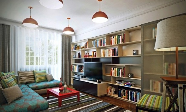 Blue Slipcovers Orange Pendant Lamp White Wooden Bookshelves Grey Glass Sliding Door Green Striped Carpet