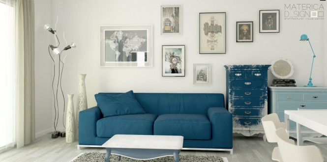 Blue Sofa White Wall Blue Reclaimed Cabinets Pale Wooden Floor Unique Standing lamp