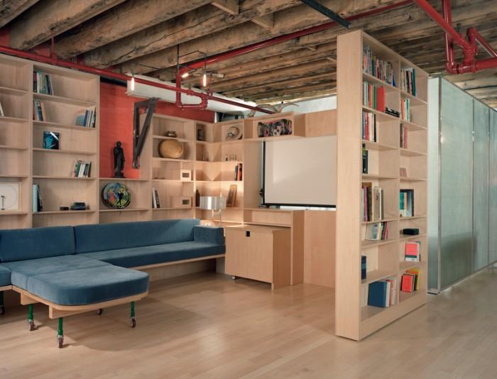 Blue Sofa Wooden Rack Wooden FLoor Glass Room Divider
