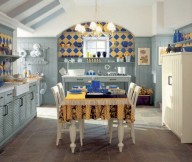 Blue Wall Classic Tile Backsplash Cream FLoor Cream Dining Set Rattan Baskets