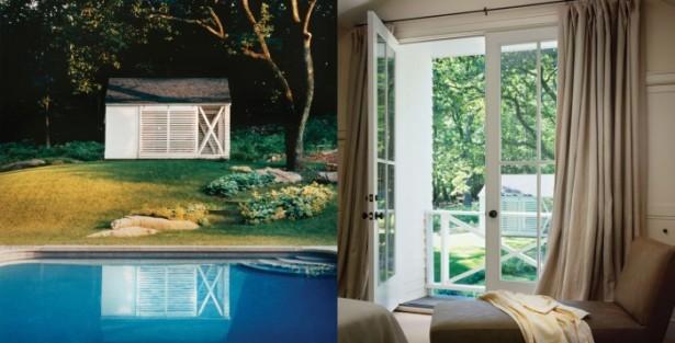 Blue Water White Glass Door Brown Curtain Brown Sofa