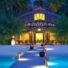 Blue ocean view Wooden deck Inspiring outdoor lights Curve architectural building
