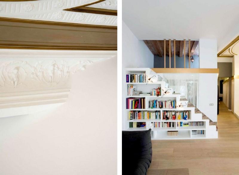 Book Shelf Wooden Floor Black Sofa Stripped Curtain