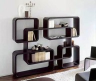 Bookshelf Designs Black Square Shelves White Rug Black Chairs