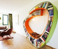 Bookshelf Designs Bookworm Shelves in Orange and Green Arch Lamp Brown Chair
