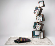 Bookshelf Designs Brown Cube Shelves White Rug