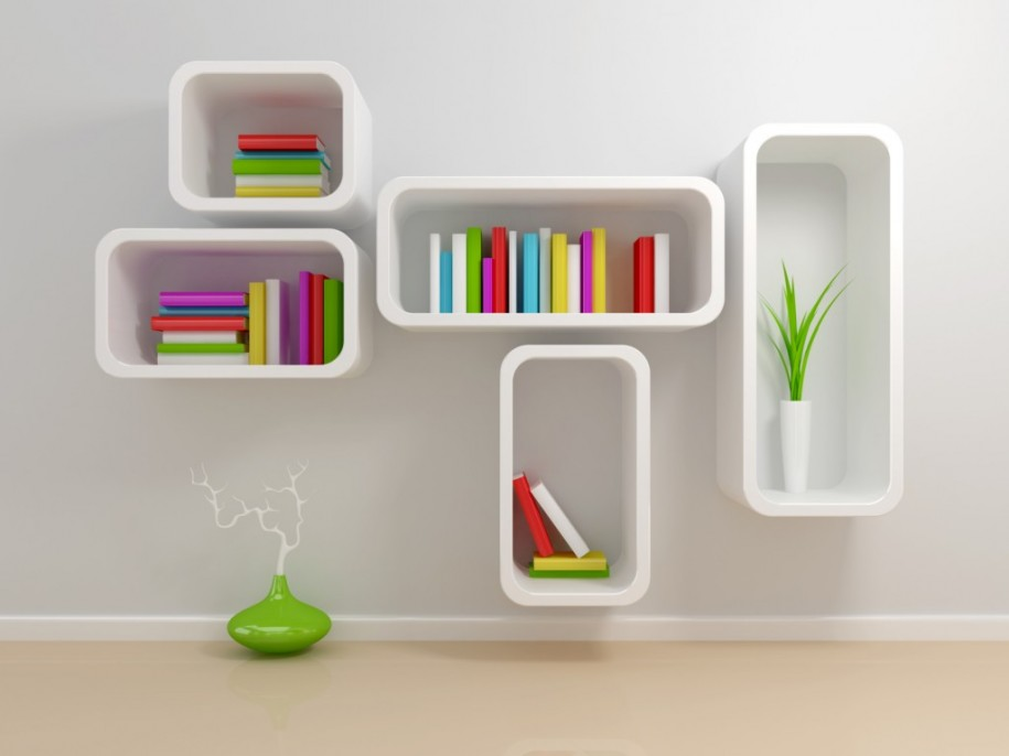 Bookshelf Designs White Square Shelves Colorful Books Cream Floor Green VAse