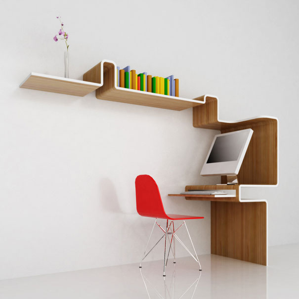 Bookshelf Designs  Wooden Shelves White Computer Orange Chair