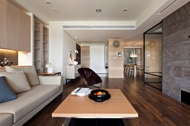 Box coffee table Wooden floor Backsplash light Fertility design apartment