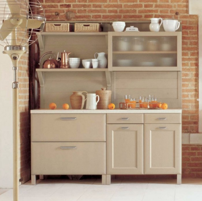 Brick Wall Beige Color Counters White Floor CLassic Apllinaces
