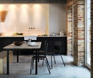 Brick Wall Black Dining Chair Wooden Table Grey Floor