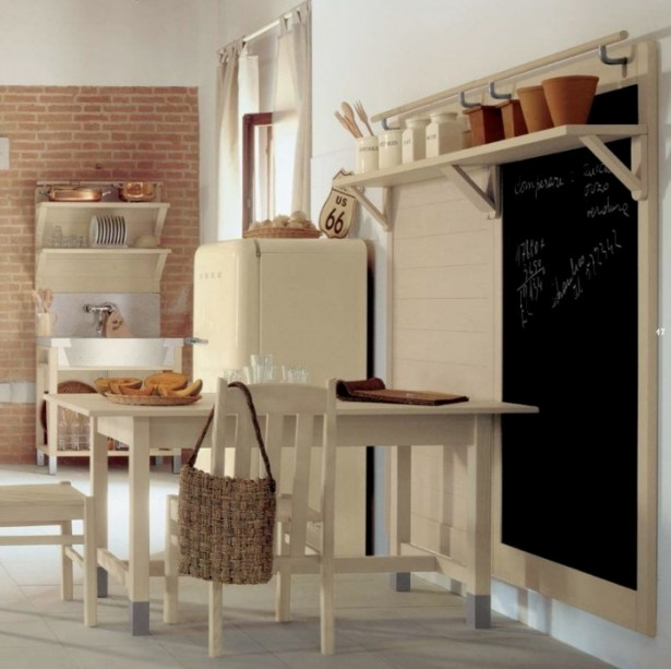 Brick Wall White Wall Cream Dining Set White Floor
