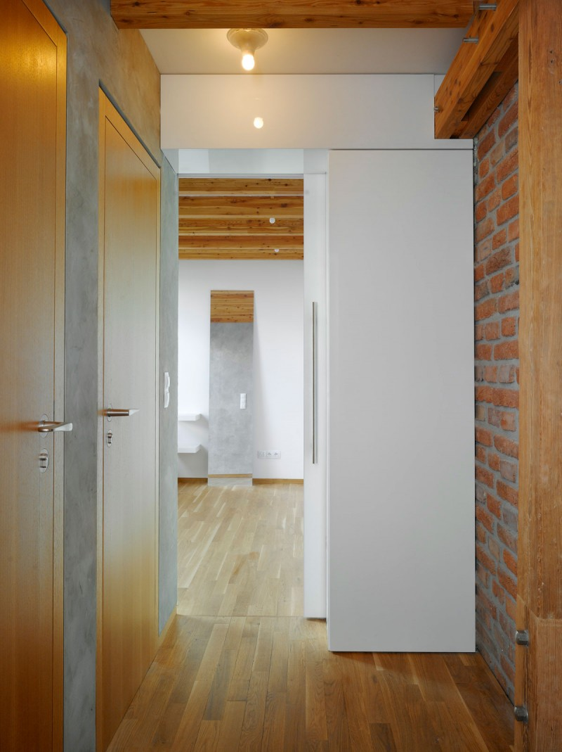 Brick Wall Wooden FLoor Wooden Doors Grey Wall