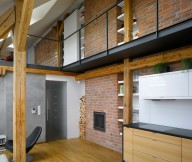 Brick Wall Wooden Floor White Ceiling Black Chair