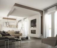 Brown Arm Chairs White Telecope Brown Sofas White Brown Wall Panel White Curtain