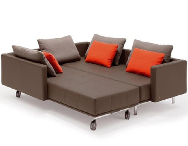 Brown Bed Sofa Minimalist Look Orange Cushions Brown Biegger Cushions