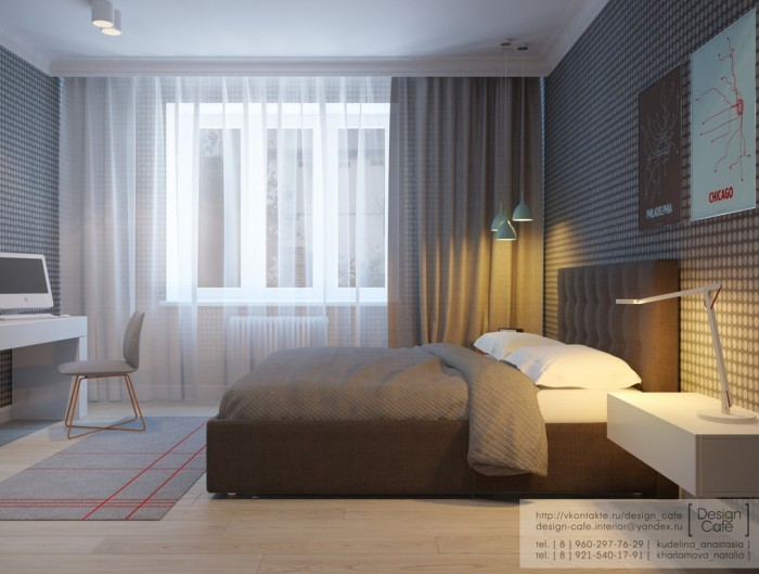 Brown Bed Wooden Floor Brown Curtain White Transparent Curtain
