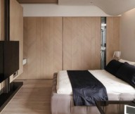Brown Bed Wooden Floor Wooden Wall Panel Black Television