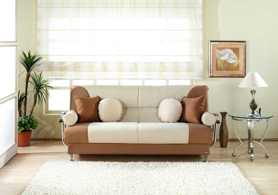 Brown Best Sofa with White Rug