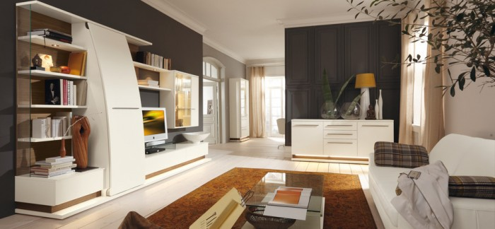 Brown Carpet White Cabinets Black Wall Panel White Sofa