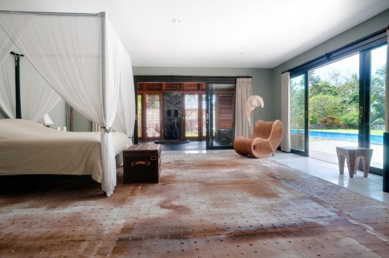 Brown Carpet White Floor Wide Window White Valance