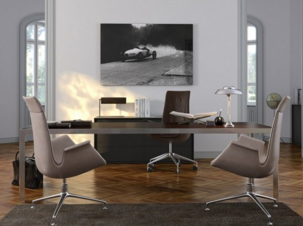 Brown Chairs Brown Desk Brown Rug Monochrome Paintings