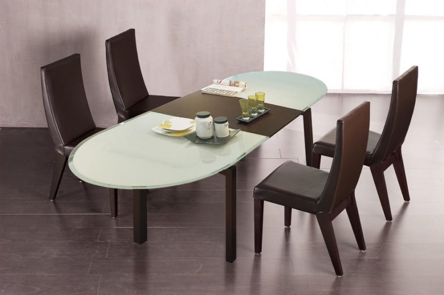 Brown Dining Chairs Grey Floor Minimalist Look White Jars