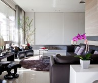 Brown Leather Sofas Brown Rug Black Sofa White Wall White Cabinets